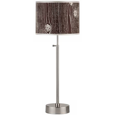 Lights Up! Cancan Faux Bois Dark Adjustable Table Lamp