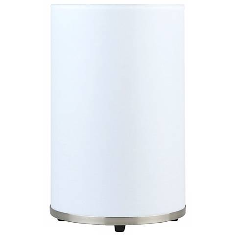 Lights Up! Meridian Medium White Linen Accent Table Lamp