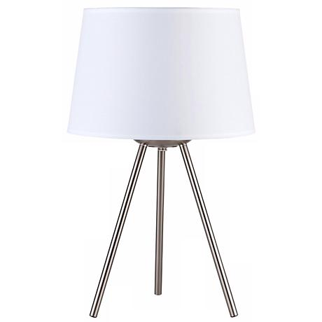 Lights Up Weegee Small White Linen 20 Quot High Table Lamp
