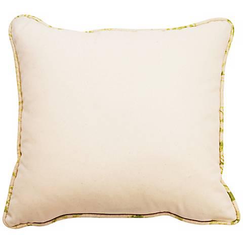 """Bali Natural Green Welt 18"""" Square Linen Throw Pillow"""