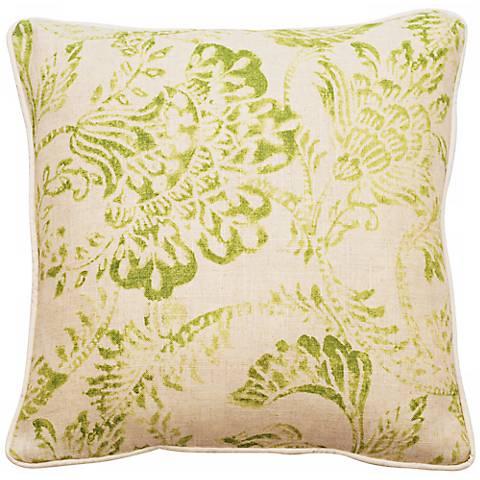 "Bali Bright Green 18"" Square Linen Throw Pillow"