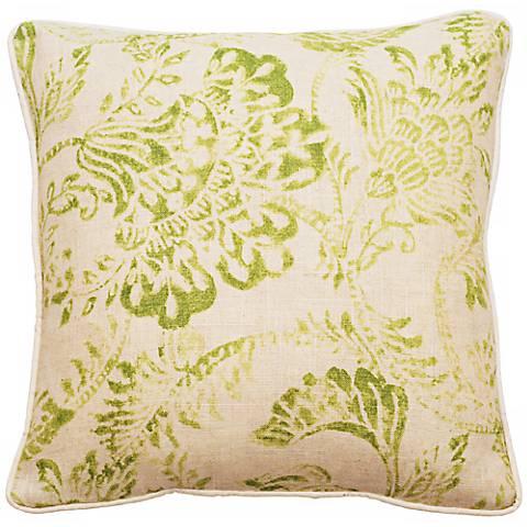 "Bali Bright Green 22"" Square Linen Throw Pillow"