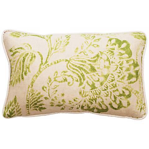 """Bali Bright Green 17"""" Wide Linen Throw Pillow"""