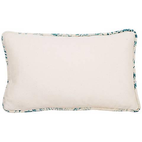 """Bali Antique Blue Welt 17"""" Wide Linen Throw Pillow"""
