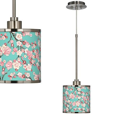 Cherry Blossoms Giclee Glow Mini Pendant Light
