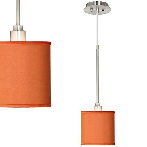 Orange Faux Silk Mini Pendant Light