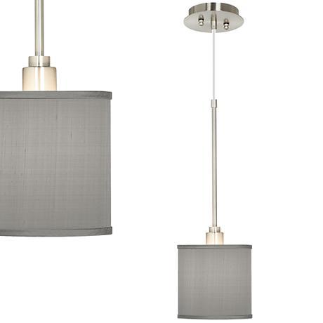 Gray Textured Silk Mini Pendant Light