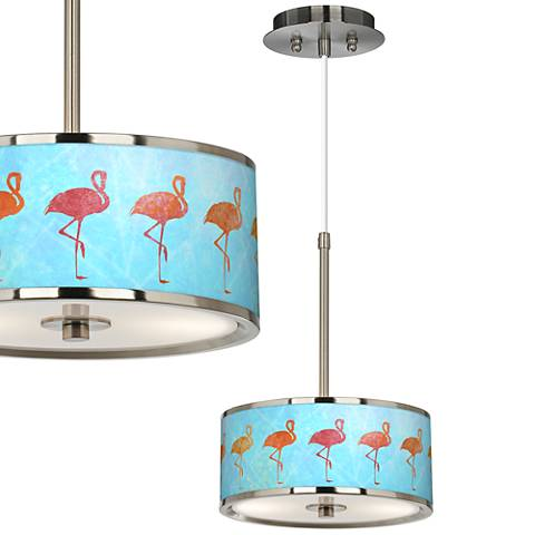 "Flamingo Shade Giclee Glow 10 1/4"" Wide Pendant Light"