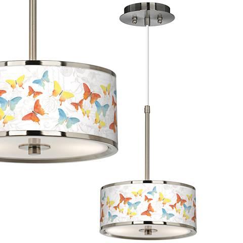 """Pastel Butterflies Giclee Glow 10 1/4"""" Wide Pendant Light"""