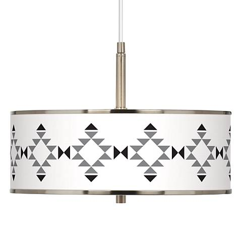 "Desert Grayscale Giclee Glow 16"" Wide Pendant Light"