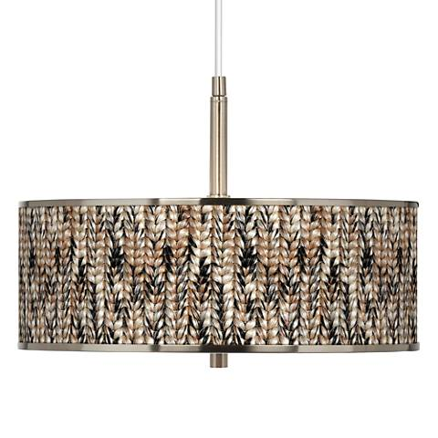 "Braided Jute Giclee Glow 16"" Wide Pendant Light"