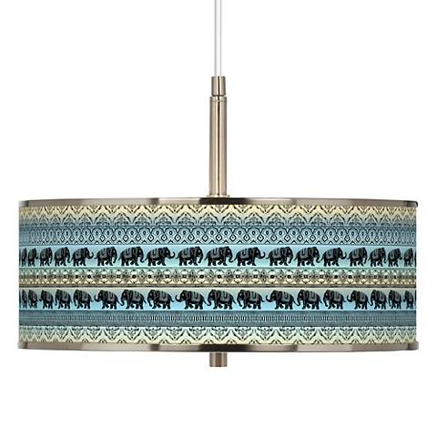 "Elephant March Giclee Glow 16"" Wide Pendant Light"