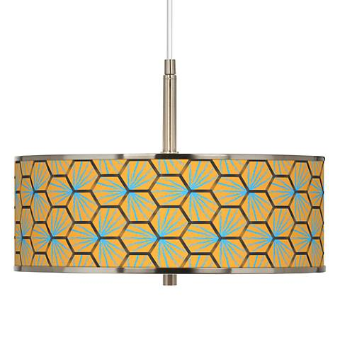 "Hexagon Starburst Giclee Glow 16"" Wide Pendant Light"