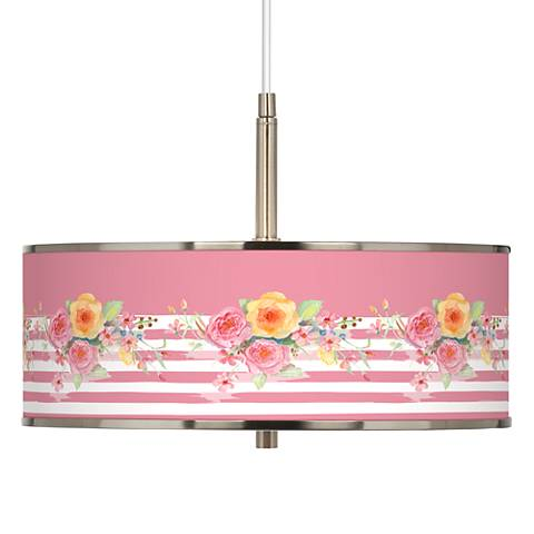"""Country Rose Giclee Glow 16"""" Wide Pendant Light"""
