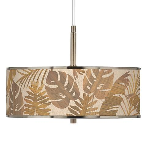 """Tropical Woodwork Giclee Glow 16"""" Wide Pendant Light"""