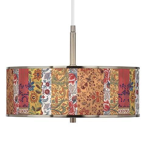 "Bohemian Blooms Giclee Glow 16"" Wide Pendant Light"