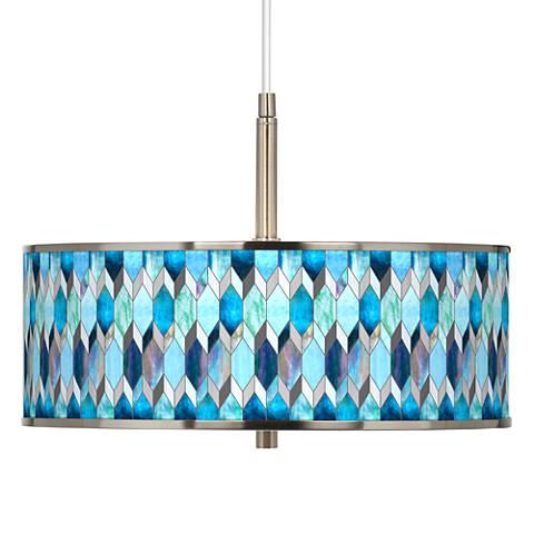 "Blue Tiffany Giclee Glow 16"" Wide Pendant Light"