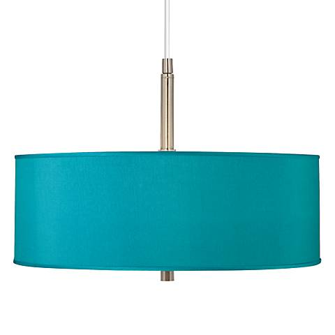 "Teal Blue Faux Silk 16"" Wide Pendant Chandelier"