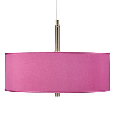 "Pink Orchid Faux Silk 16"" Wide Pendant Chandelier"