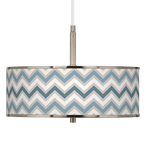 "Wave Zig Zag Giclee Glow 16"" Wide Pendant Light"