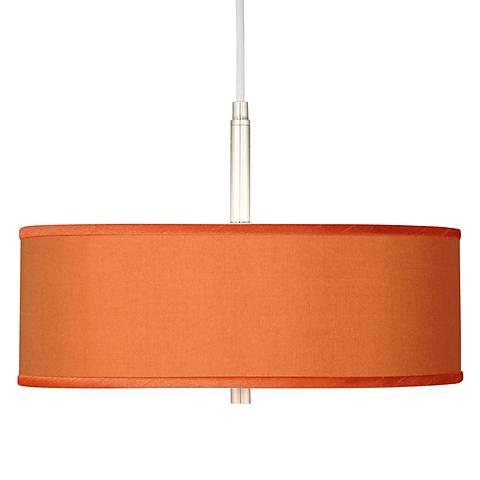 "Orange Faux Silk 16"" Wide Pendant Light"