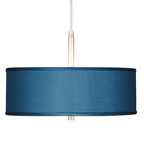 "Blue Faux Silk 16"" Wide Pendant Light"