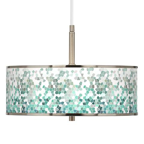"Aqua Mosaic Giclee Glow 16"" Wide Pendant Light"