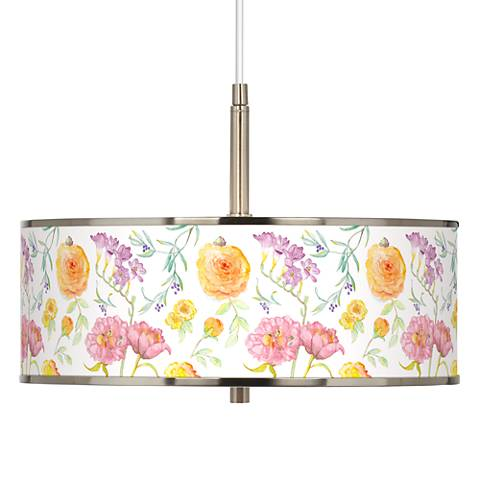 "Spring Garden Giclee Glow 16"" Wide Pendant Light"