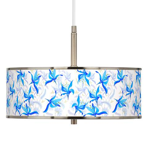 "Flora Bleu Giclee Glow 16"" Wide Pendant Light"