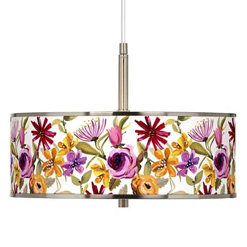"Bountiful Blooms Giclee Glow 16"" Wide Pendant Light"