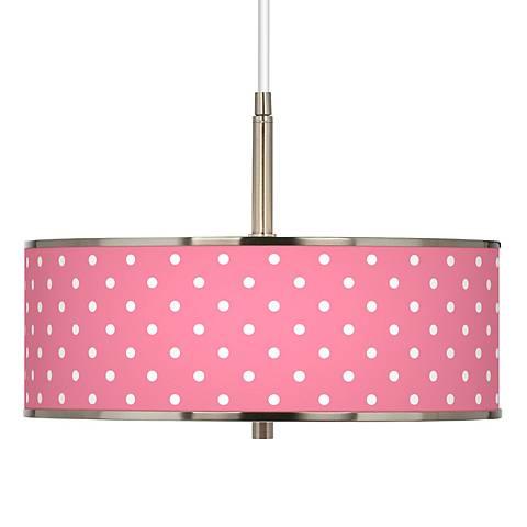 "Mini Dots Pink Giclee Glow 16"" Wide Pendant Light"