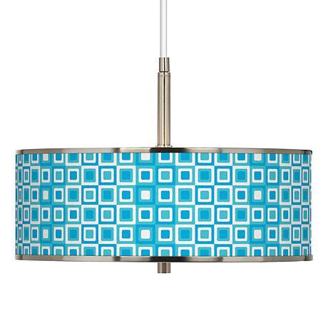 "Blue Boxes Linen Giclee Glow 16"" Wide Pendant Light"