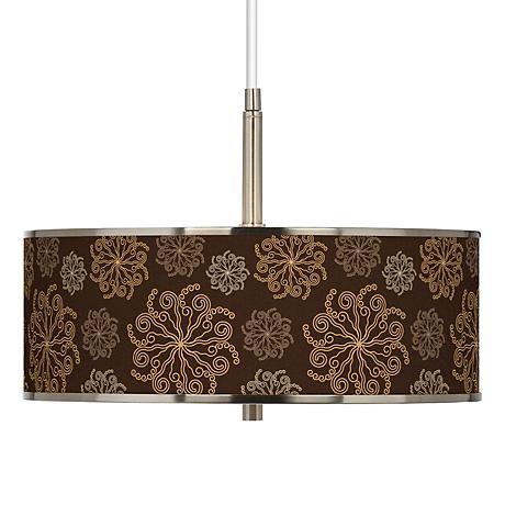 "Chocolate Blossom Linen Giclee Glow 16"" Wide Pendant Light"