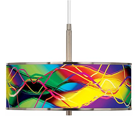 """Colors In Motion (Light) Giclee Glow 16"""" Wide Pendant Light"""