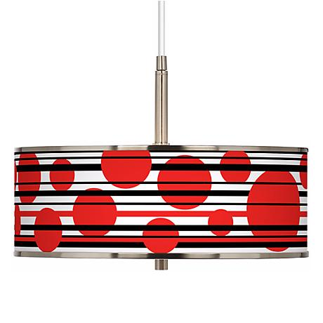 """Red Balls Giclee Glow 16"""" Wide Pendant Light"""