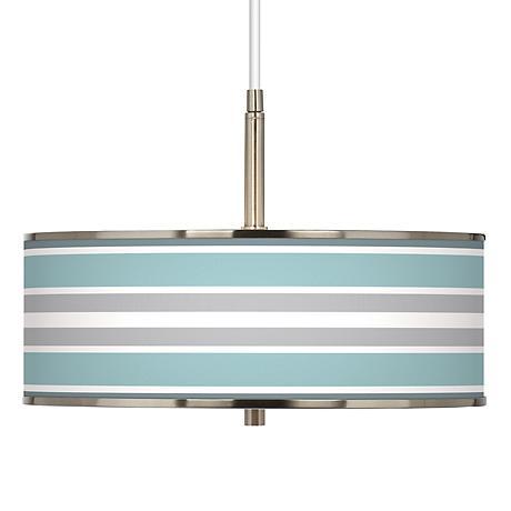 "Multi Color Stripes Giclee Glow 16"" Wide Pendant Light"