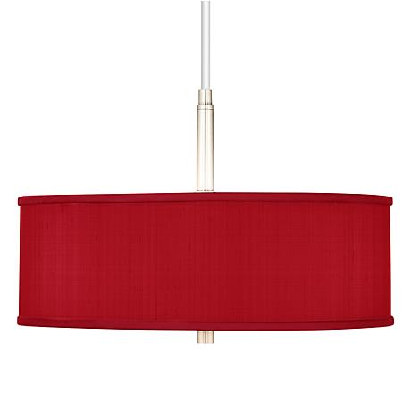 """China Red Textured Silk 16"""" Wide Pendant Chandelier"""
