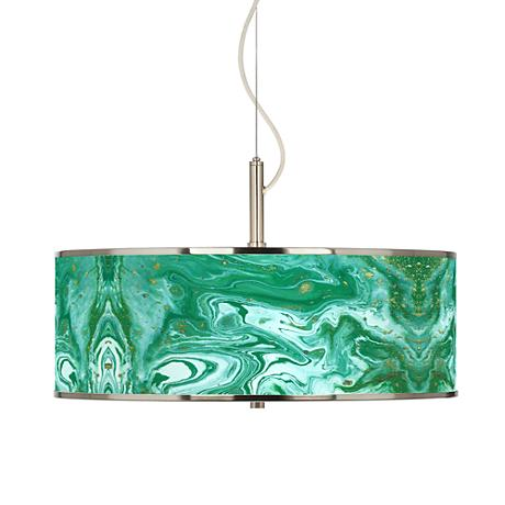 "Malachite Giclee Glow 20"" Wide Pendant Light"