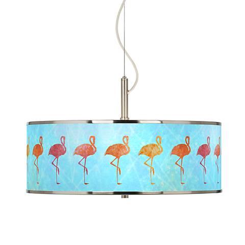 "Flamingo Shade Giclee Glow 20"" Wide Pendant Light"