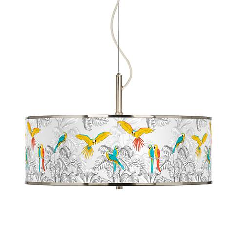"Macaw Jungle Giclee Glow 20"" Wide Pendant Light"