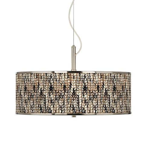 "Braided Jute Giclee Glow 20"" Wide Pendant Light"
