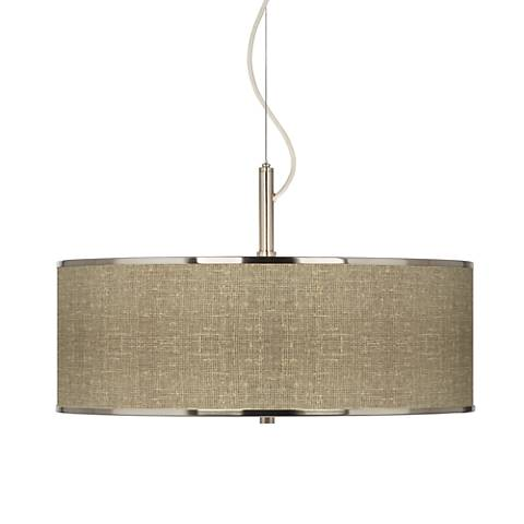 "Burlap Print Giclee Glow 20"" Wide Pendant Light"