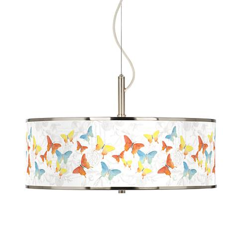 "Pastel Butterflies Giclee Glow 20"" Wide Pendant Light"