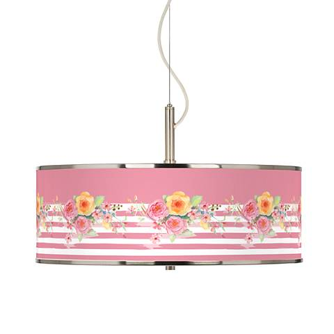 """Country Rose Giclee Glow 20"""" Wide Pendant Light"""