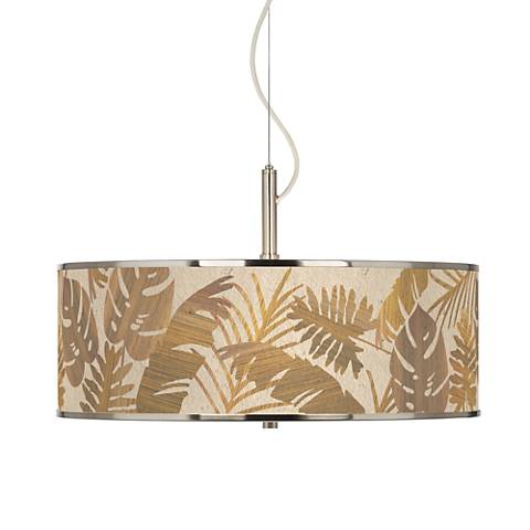 """Tropical Woodwork Giclee Glow 20"""" Wide Pendant Light"""