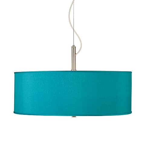 "Teal Blue Faux Silk 20"" Wide Pendant Chandelier"