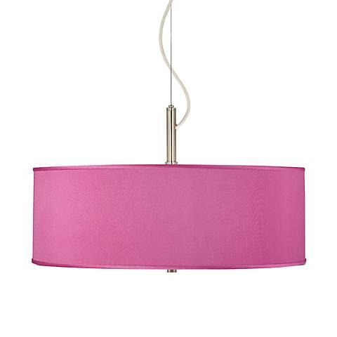 "Pink Orchid Faux Silk 20"" Wide Pendant Chandelier"
