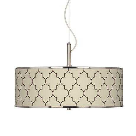 """Tangier Taupe Giclee Glow 20"""" Wide Pendant Light"""
