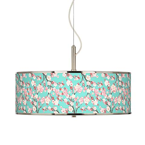 "Cherry Blossoms Giclee Glow 20"" Wide Pendant Light"