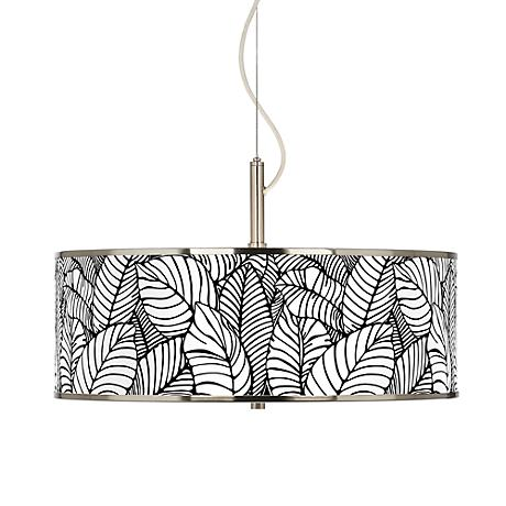 "Tropical Leaves Giclee Glow 20"" Wide Pendant Light"